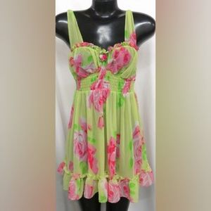 Betsey Johnson Green/Pink Night Gown Size S
